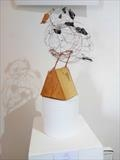 Puffin - part of endangered species series by Dianne Preston, Sculpture, wire, glass and wood