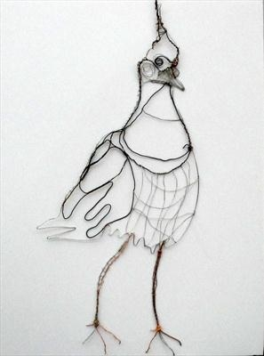 Lapwing by Dianne Preston, Drawing, Wire on canvas