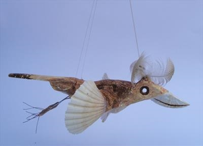 Plumed flying bird by Dianne Preston, Sculpture, mixed media