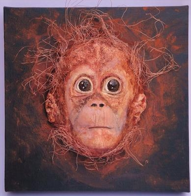 Zoo baby (orang-utan) by Dianne Preston, Sculpture, Paper pulp and wire on canvas